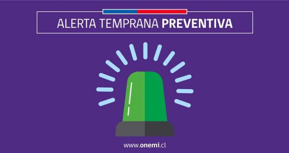 Regional: se actualiza Alerta Temprana Preventiva por evento meteorológico.