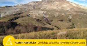 Regional: declaran alerta técnica amarilla por actividad complejo volcánico Puyehue-Cordón Caulle.